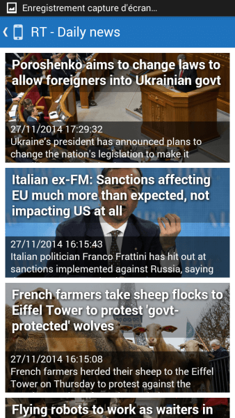 Screenshot RSS Feed